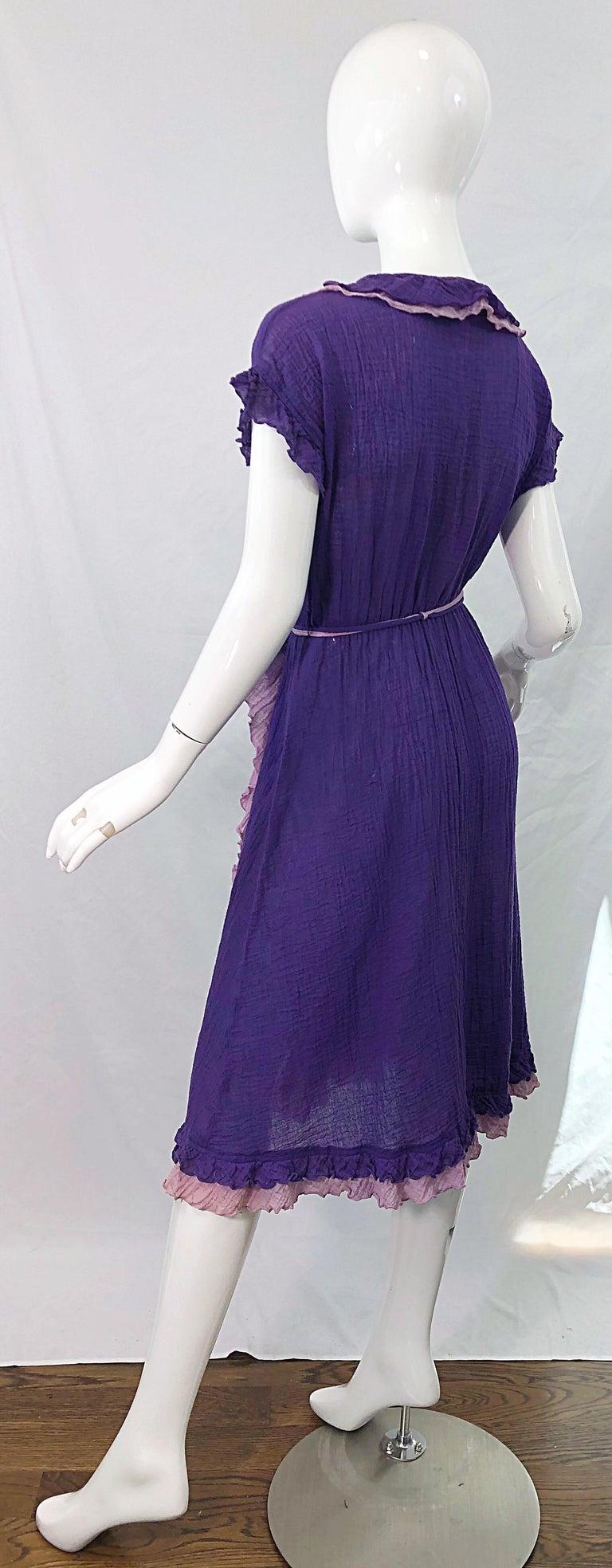 1970s Purple Lavender Lightweight Cotton Voile Vintage 70s Wrap Dress For Sale 8