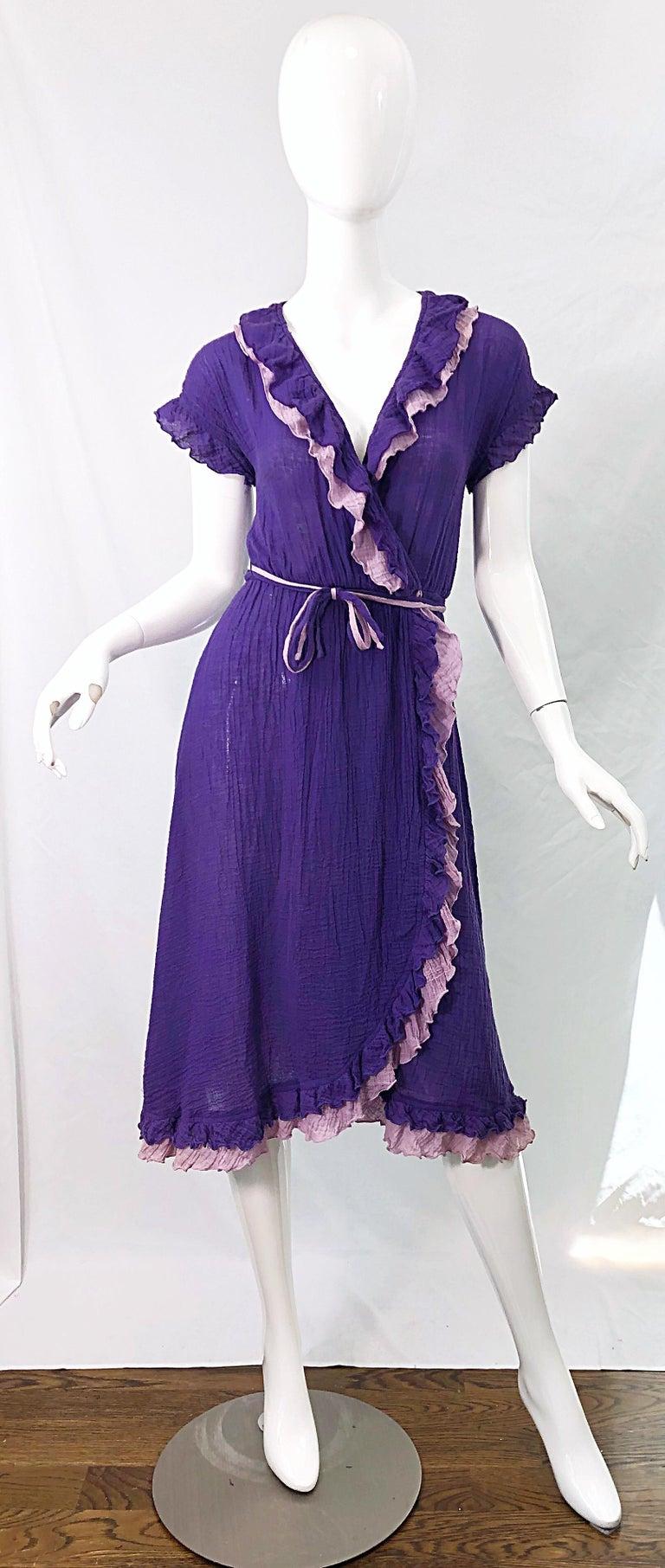 1970s Purple Lavender Lightweight Cotton Voile Vintage 70s Wrap Dress For Sale 9