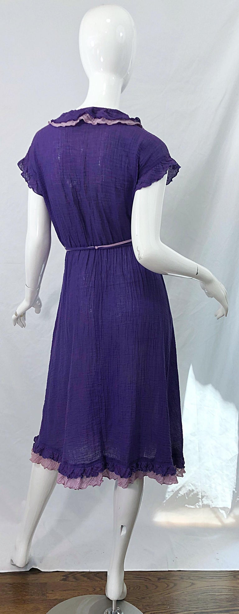 1970s Purple Lavender Lightweight Cotton Voile Vintage 70s Wrap Dress In Excellent Condition For Sale In Chicago, IL