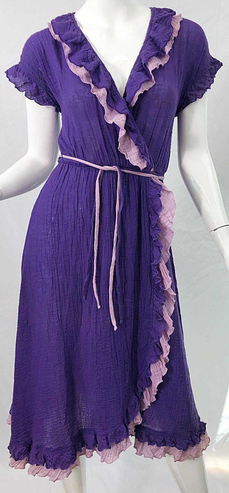 Women's 1970s Purple Lavender Lightweight Cotton Voile Vintage 70s Wrap Dress For Sale