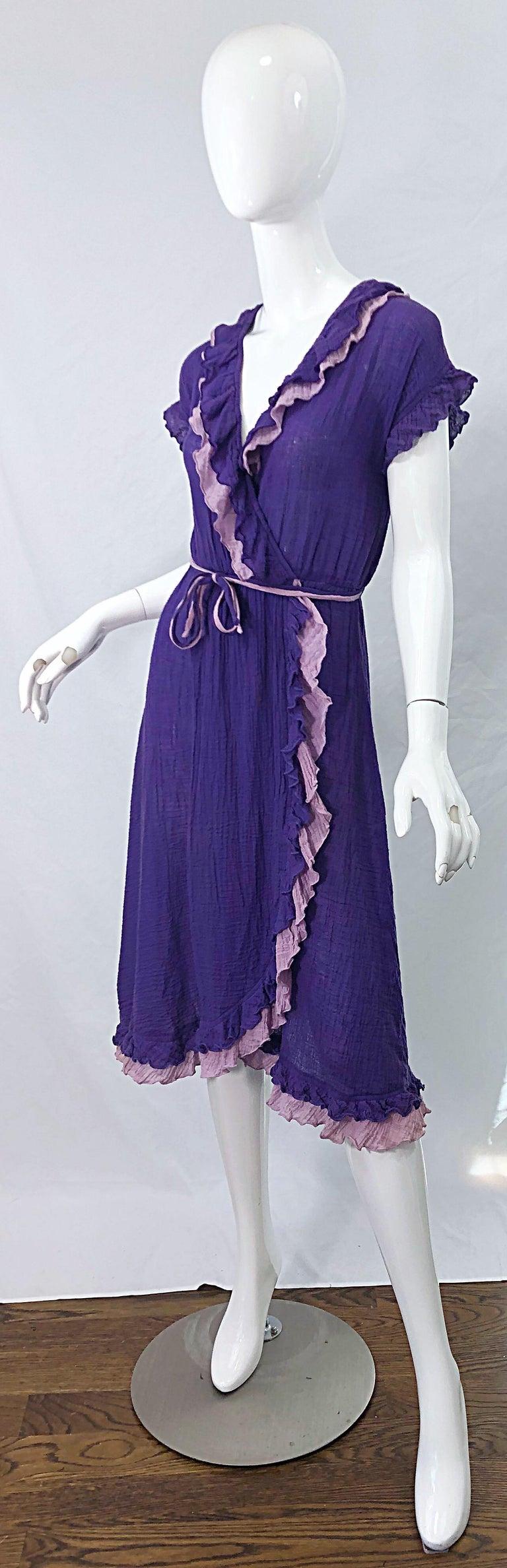 1970s Purple Lavender Lightweight Cotton Voile Vintage 70s Wrap Dress For Sale 1