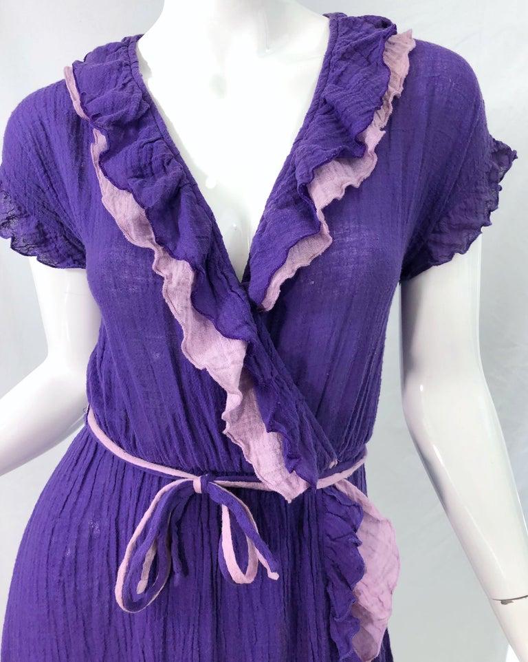 1970s Purple Lavender Lightweight Cotton Voile Vintage 70s Wrap Dress For Sale 2