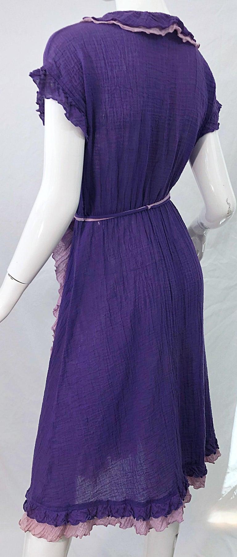 1970s Purple Lavender Lightweight Cotton Voile Vintage 70s Wrap Dress For Sale 3