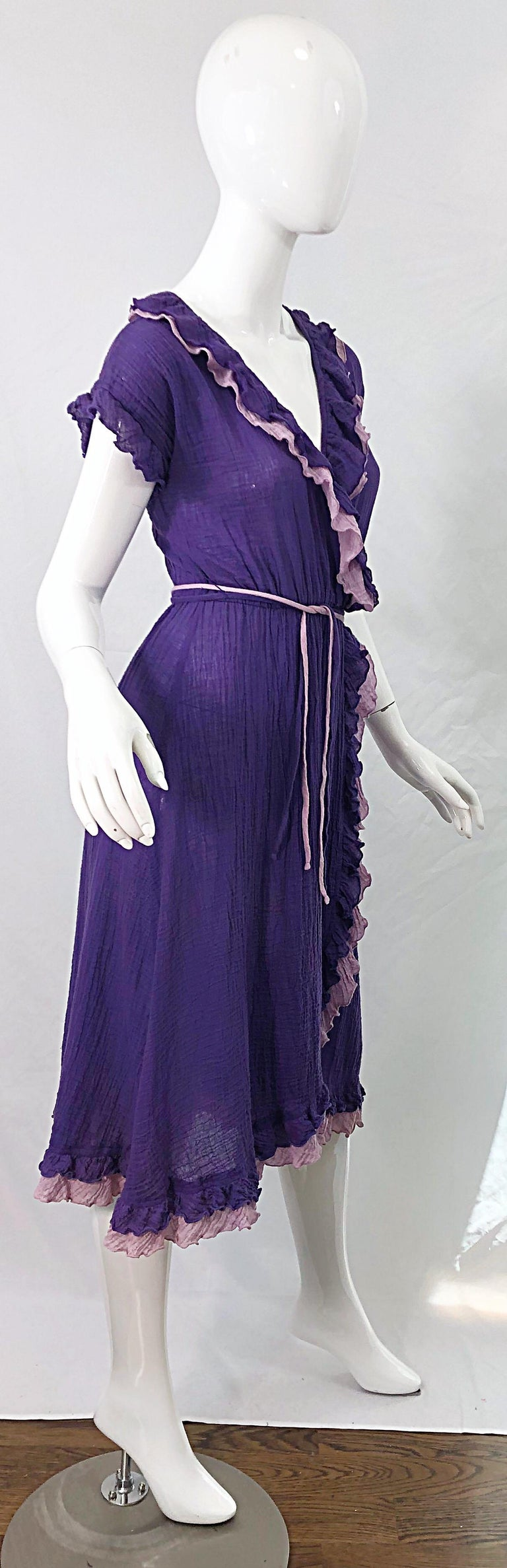 1970s Purple Lavender Lightweight Cotton Voile Vintage 70s Wrap Dress For Sale 4