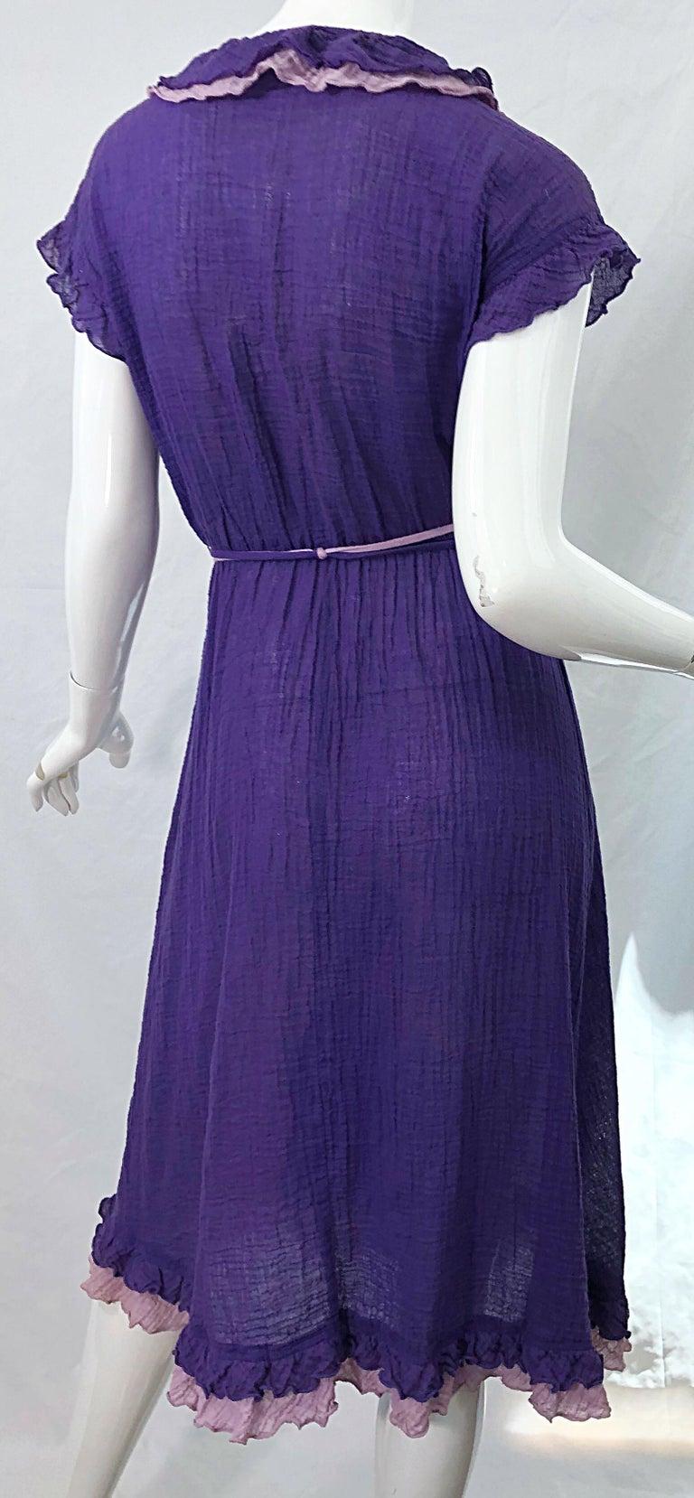 1970s Purple Lavender Lightweight Cotton Voile Vintage 70s Wrap Dress For Sale 5
