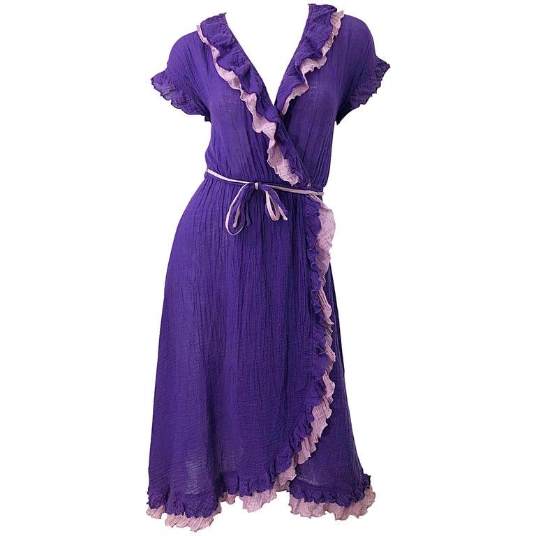 1970s Purple Lavender Lightweight Cotton Voile Vintage 70s Wrap Dress For Sale