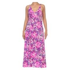 1970S Purple & Pink Floral Poly Blend Print Maxi Dress