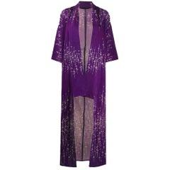1970s Purple Printed Long Kimono