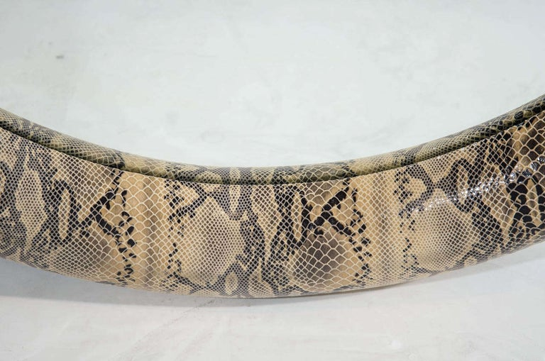 American 1970s Python Embossed Leather Mirror in the Style of Karl Springer For Sale