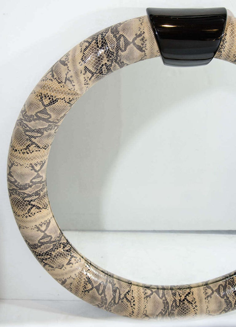 1970s Python Embossed Leather Mirror in the Style of Karl Springer In Excellent Condition For Sale In Fort Lauderdale, FL