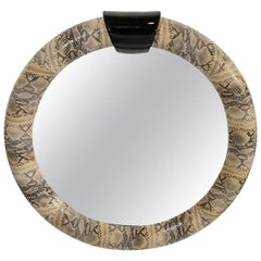 1970s Python Embossed Leather Mirror in the Style of Karl Springer