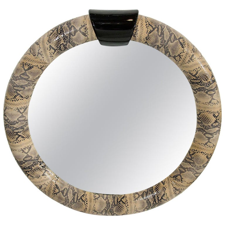 1970s Python Embossed Leather Mirror in the Style of Karl Springer For Sale