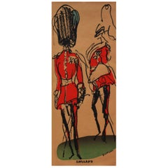 1970s Queens Jubilee London Guard Poster by Feliks Topolski