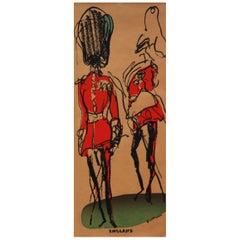 1970s Queens Jubilee London Guard Poster by Feliks Topolski