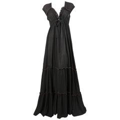 1970's RADLEY black gauze maxi dress with pink stitching