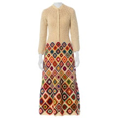 1970S Rainbow Hand Knit  Wool Crochet Maxi Dress