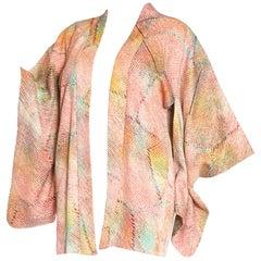 1970S Rainbow Japanese Shibori Silk Short Kimono