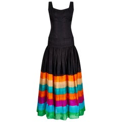 1970s Rainbow Silk Chiffon Tiered Haute Couture Maxi Dress