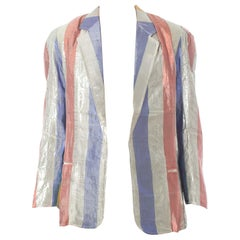 1970S Striped Silver Lamé Glam Rock Bowie Blazer