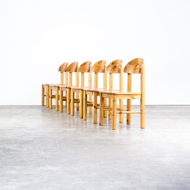 1970s Rainer Daumiller pinewood dining chairs for Hirtshals Savvaerk, set of 6. Good condition consistent with age and use.