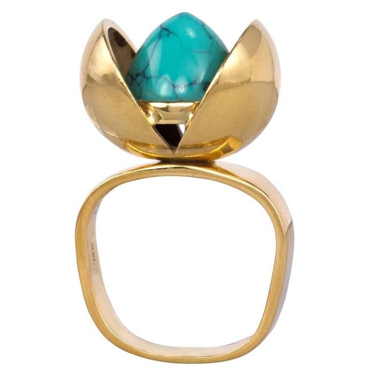 1970s Age Fausing Denmark Turquoise and Gold Tulip Ring