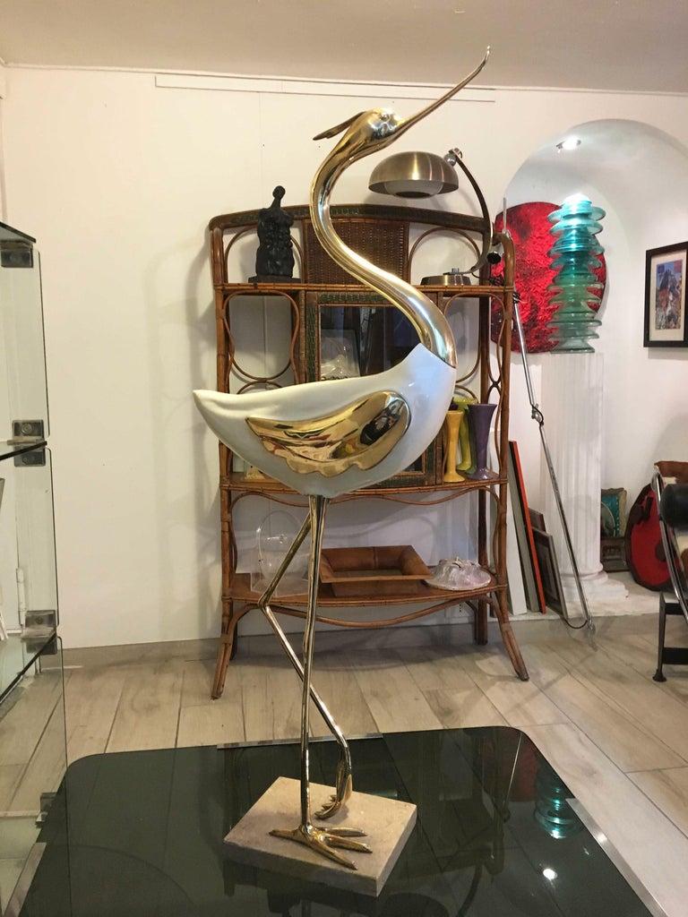 Italian 1970s Rare Antonio Pavia Lacquered Wood and Gilded Bronze Heron For Sale