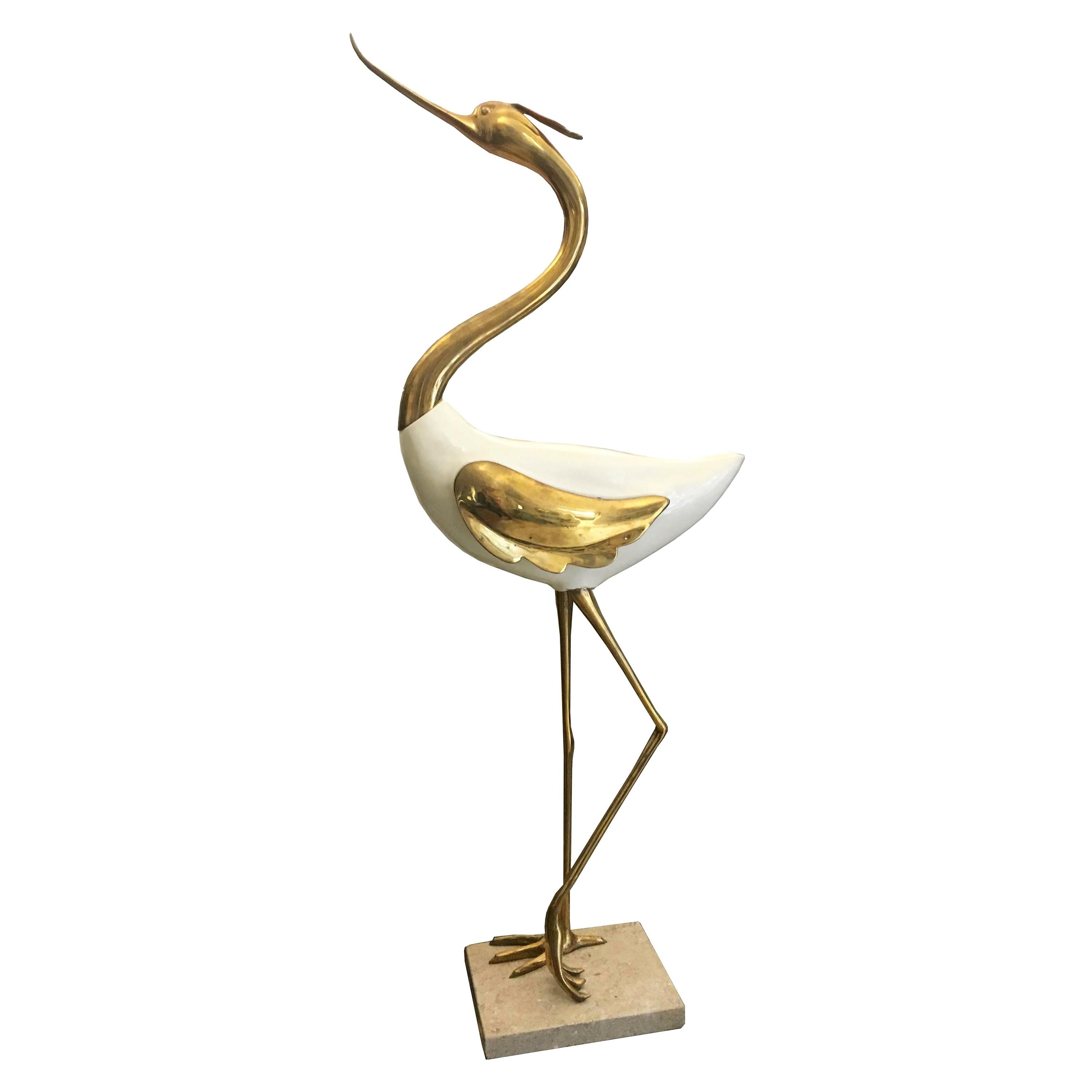1970s Rare Antonio Pavia Lacquered Wood and Gilded Bronze Heron