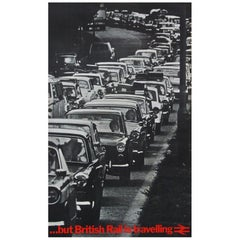 1970s Rare British Rail Travel Poster Classic Cars Traffic Jam