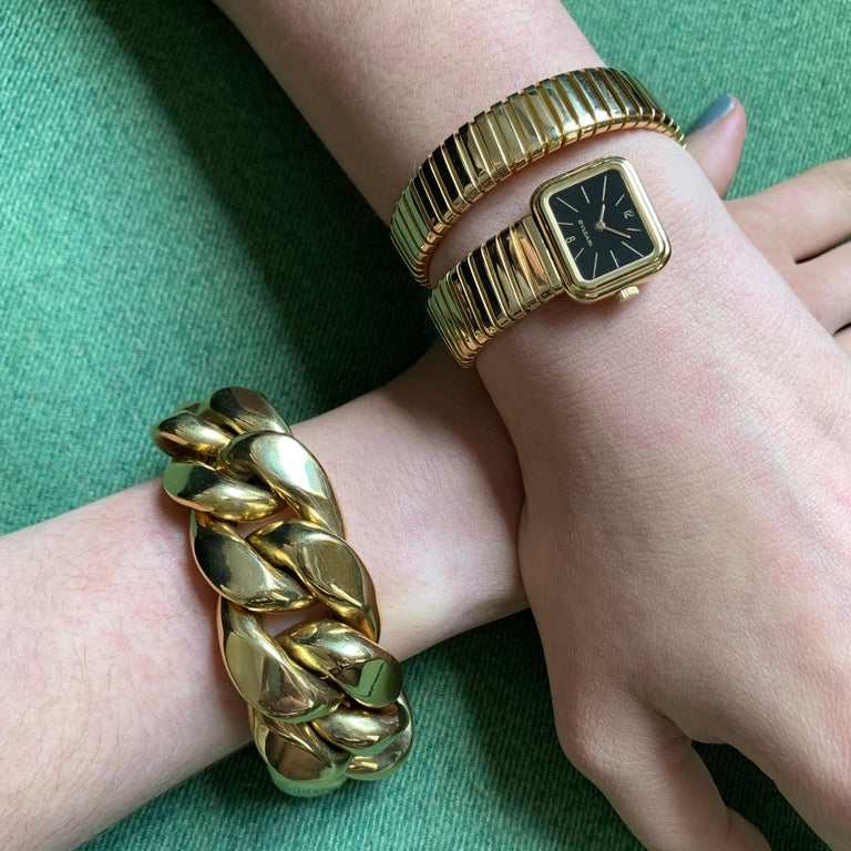 1970s Rare Design Bulgari Serpenti Tubogas Gold Watch In Excellent Condition For Sale In New York, NY