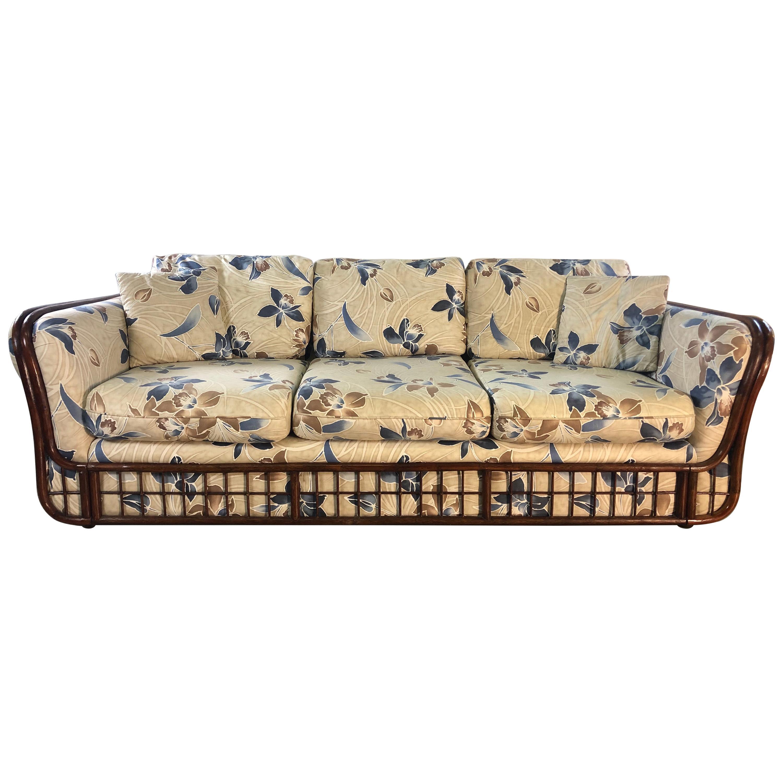 1970s Rattan 3-Seat Sofa