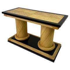 1970s Rattan and Black Lacquer Console Table by Howard Dilday