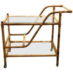 1970s Rattan and Glass Tea Cart