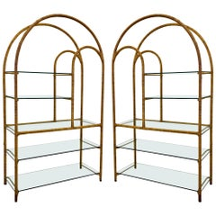1970s Rattan or Bamboo Wrapped Etageres, a Pair