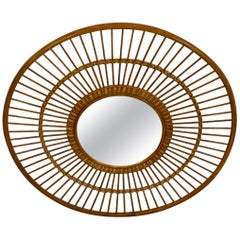 1970s Rattan Sunburst Mirror