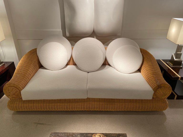 1970s Rattan Vintage Sofa In Good Condition In Saint-Ouen, FR