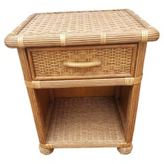 1970s Rattan Wicker Nightstand with Drawer