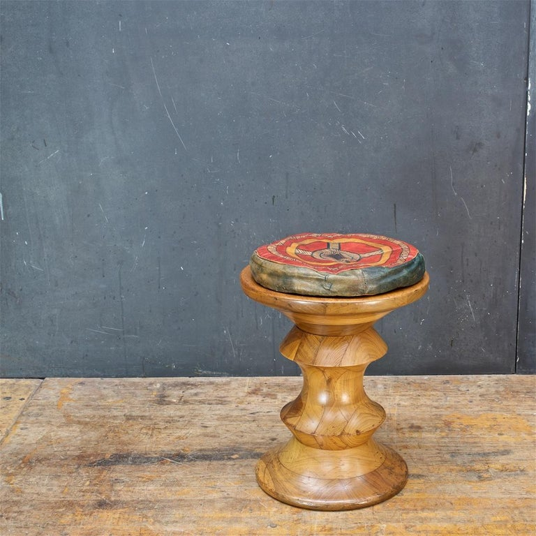 1970s Ray Eames Time Life Walnut Apple Core Stool Table Chess Plant Stand Rustic For Sale 3