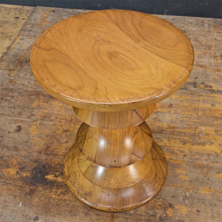 1970s Ray Eames Time Life Walnut Apple Core Stool Table Chess Plant Stand Rustic In Distressed Condition For Sale In Washington, DC