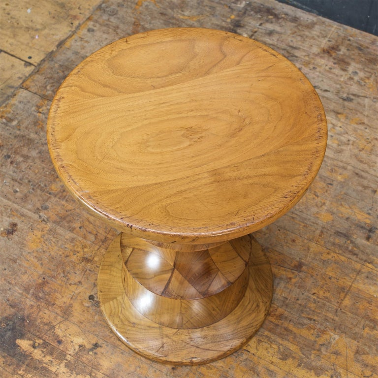 1970s Ray Eames Time Life Walnut Apple Core Stool Table Chess Plant Stand Rustic For Sale 1