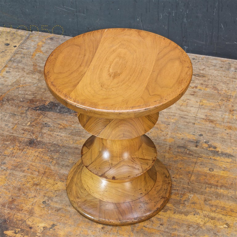 Late 20th Century 1970s Ray Eames Time Life Walnut Apple Core Stool Table Chess Plant Stand Rustic For Sale