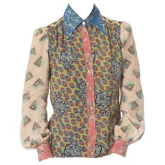 1970S Rayon Patchwork Print Shirt Made From 1940S Vintage Prints
