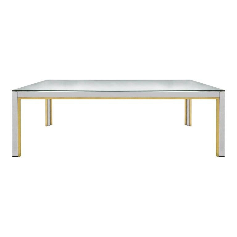 1970s Rectangular Brass and Chrome Coffee Table by Romeo Rega For Sale