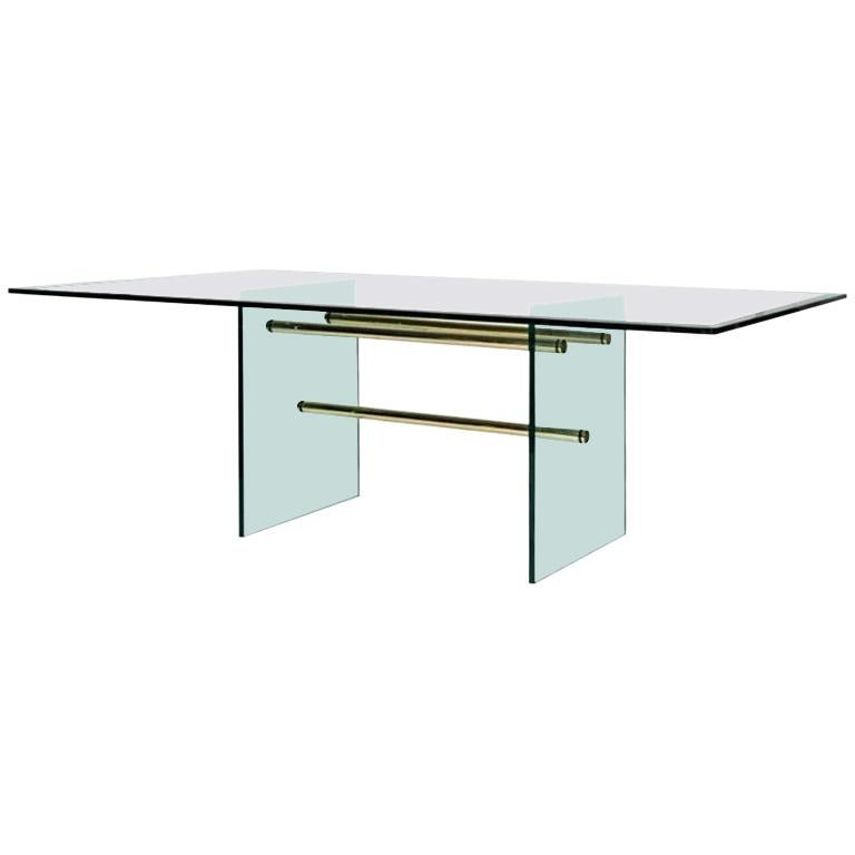 1970s Rectangular Brass and Glass Dining Table For Sale