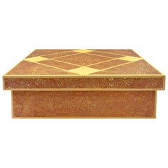 1970s Rectangular Lacquered Box with Diamond Patterned Lid