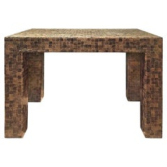 1970s Rectangular Lacquered Faux Snake Skin Checkerboard Side Table