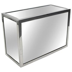 1970s Rectangular Mirror and Chrome Side Table