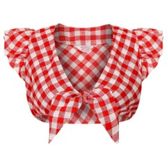 1970s Red and White Gingham Crop Blouse