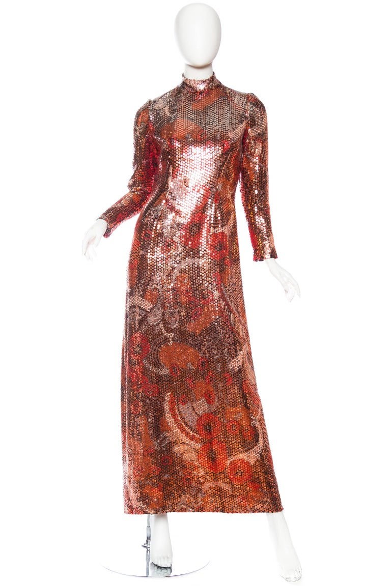 1970S Red & Brown Wool Psychedelic Floral Anne Fogarty Sequined Sleeved Gown In Excellent Condition For Sale In New York, NY
