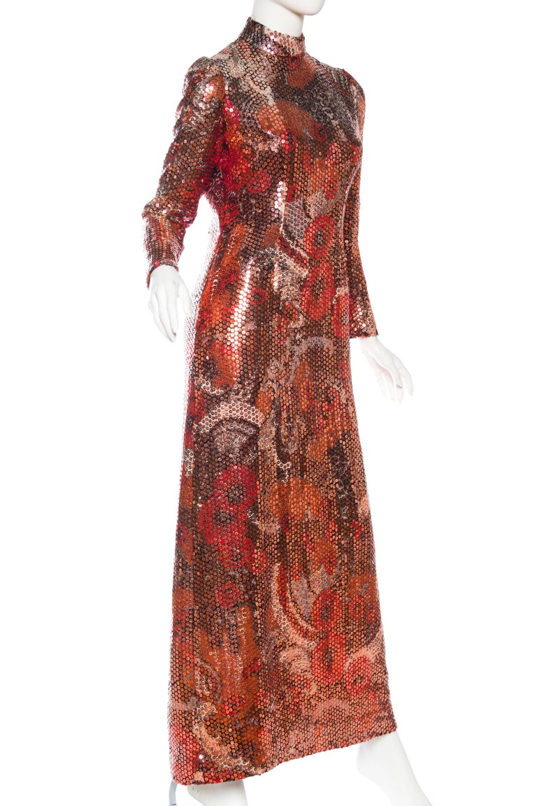 Women's 1970S Red & Brown Wool Psychedelic Floral Anne Fogarty Sequined Sleeved Gown For Sale