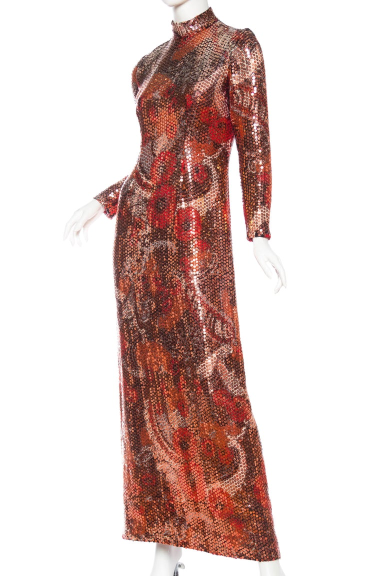1970S Red & Brown Wool Psychedelic Floral Anne Fogarty Sequined Sleeved Gown For Sale 1